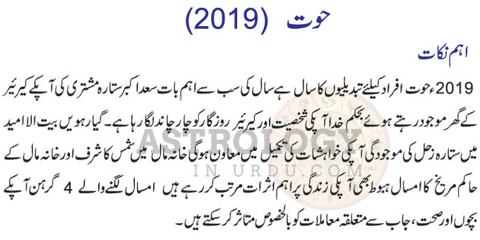 Pisces Horoscope in Urdu Aham Nukat 2019
