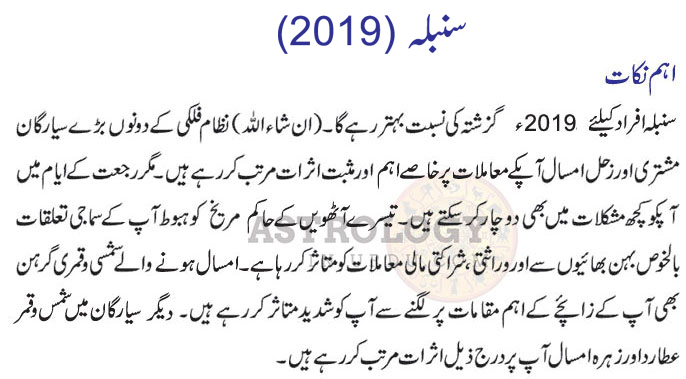 Virgo Horoscope in Urdu Aham Nukat 2019